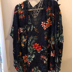 AE tropical flowers lace-back kimono
